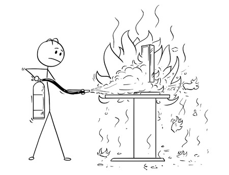 Cartoon stick man drawing conceptual illustration of businessman fighting the fire on office desk and computer using extinguisher. Illustration