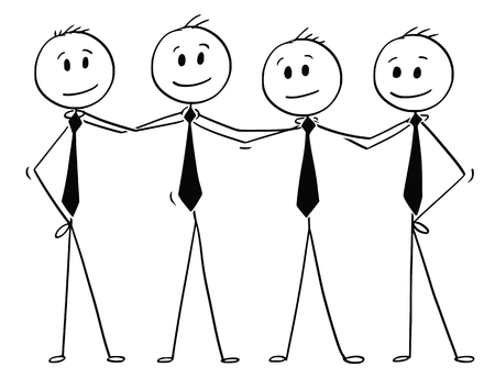 Cartoon stick men drawing conceptual illustration of team of business people standing and holding each other shoulders. Business concept of teamwork, success and cooperation.