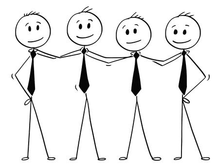 Hommes de bâton de dessin animé dessin illustration conceptuelle d'une équipe de gens d'affaires debout et se tenant les épaules. Concept d'entreprise de travail d'équipe, de réussite et de coopération. Vecteurs