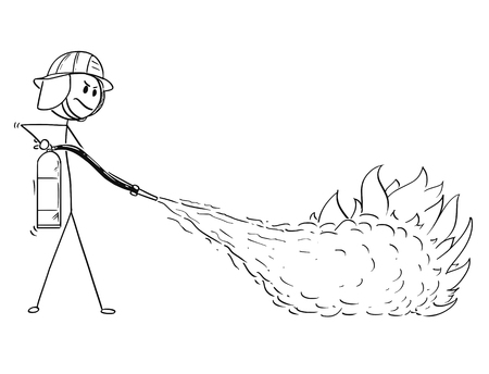 Cartoon stick man drawing illustration of firefighter fighting the fire using extinguisher.