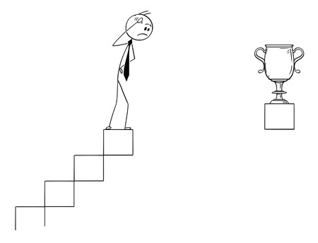 Cartoon stick man drawing conceptual illustration of frustrated businessman standing on top of stairs and watching the trophy cup unreachable far from him. Business concept of career, success and obstacle.