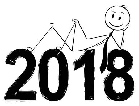 Cartoon stick man drawing conceptual illustration of businessman lying with big 2018 year numbers. Business concept of success, achievement and goal.