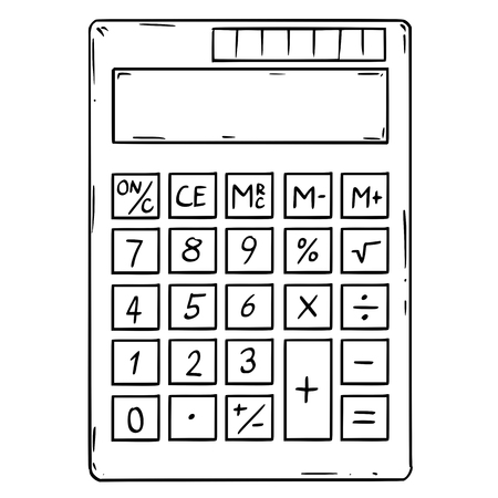 Cartoon drawing conceptual illustration of electronic calculator with empty or blank display.