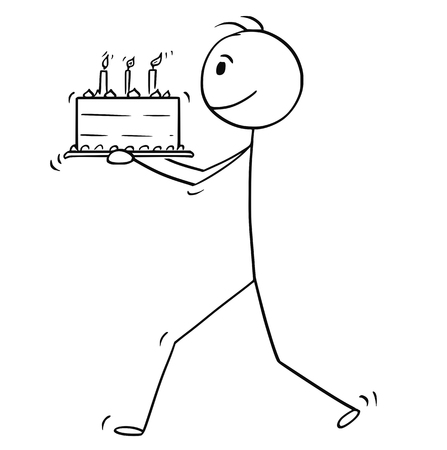 Cartoon stick man drawing conceptual illustration of man walking and carry birthday cake. Stock Illustratie
