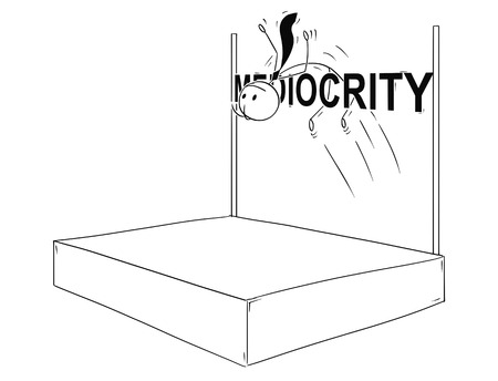 Cartoon stick man drawing conceptual illustration of businessman doing high jump over bar with mediocrity text. Business concept of exceptional individuality. Vector illustration. Illustration