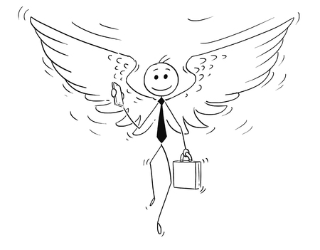 Cartoon stick man drawing conceptual illustration of businessman or investor with angel wings. Business concept of morality and ethics. Illustration