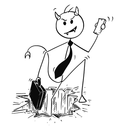 Cartoon stick man drawing conceptual illustration of demonic or evil businessman devil coming form hell or hole in ground. Business concept of morality and ethics.