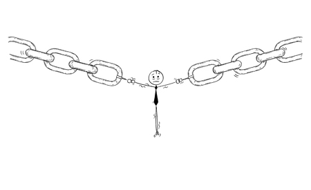 Cartoon stick man drawing conceptual illustration of businessman or user or employee as the weakest link or weak point of the chain. Business concept of network security or secret.