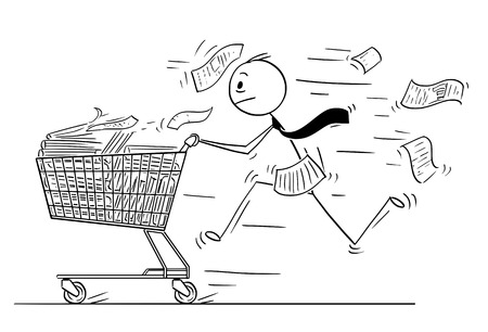 Cartoon stick man drawing conceptual illustration of businessman running and pushing shopping cart full of office paper fails or documents. Business concept of bureaucracy and overwork.