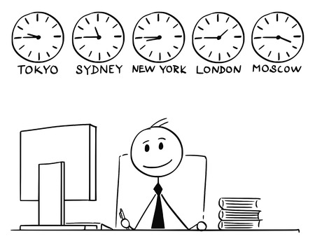 Cartoon stick man drawing conceptual illustration of businessman working in office with five wall clocks showing time on different city locations around the globe or world Vectores