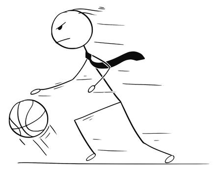 Cartoon stick man playing basketball Illustration