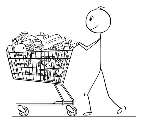 Cartoon stick man drawing conceptual illustration of smiling businessman pushing shopping cart full of goods. Ilustração