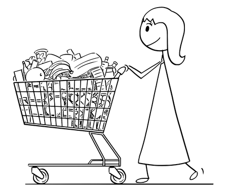 Cartoon stick man drawing conceptual illustration of smiling woman or businesswoman pushing shopping cart full of goods.