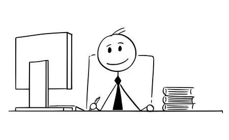 Cartoon stokmens tekening conceptuele afbeelding van glimlachende zakenman werken in office.