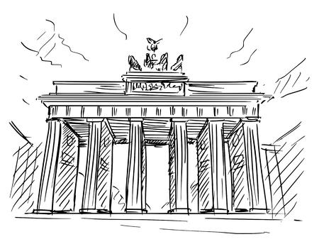 Cartoon sketch drawing illustration of Brandenburg Gate in Berlin, Germany.