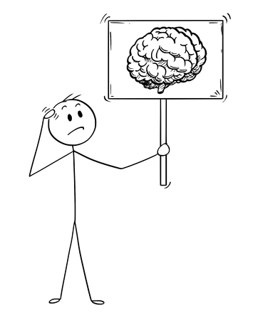 Cartoon stick man drawing conceptual illustration of unsure businessman holding sign with brain image symbol. Business concept of intelligence and understanding.