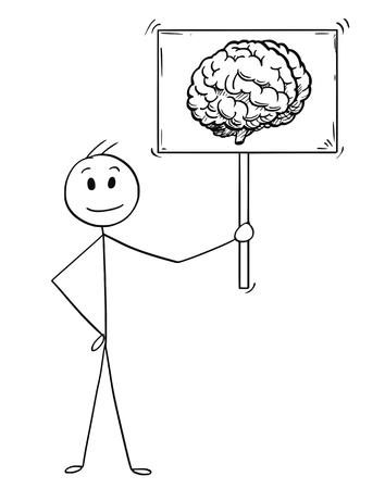 Cartoon stick man drawing conceptual illustration of businessman holding sign with brain image symbol. Business concept of intelligence and understanding. Illustration