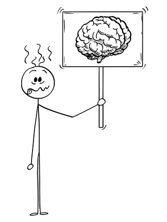 Cartoon stick man drawing conceptual illustration of crazy or stupid businessman holding sign with brain image symbol. Business concept of intelligence and mental balance. Иллюстрация