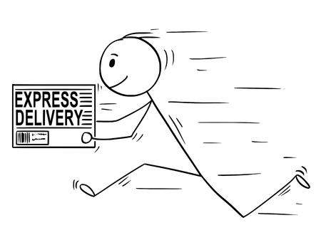Cartoon stick man drawing conceptual illustration of businessman running with carton box. Business concept of fast delivery service.