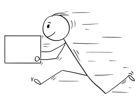 Cartoon stick man drawing conceptual illustration of businessman running fast with delivery box or letter. Usable as empty or blank sign for your text.