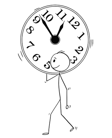 Cartoon stick man drawing conceptual illustration of businessman carry big wall clock. Business concept of time management. Vectores