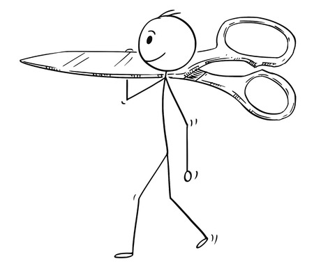 Cartoon stick man drawing conceptual illustration of businessman carrying big scissors. Business concept of paperwork and cutting.