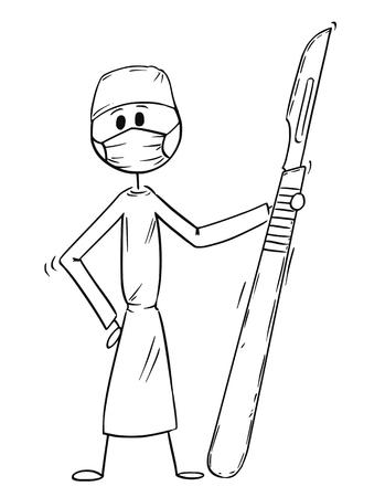 Homme de bâton de dessin dessin illustration conceptuelle du médecin chirurgien tenant un gros scalpel. Concept de chirurgie et de soins de santé. Vecteurs