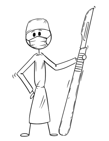 Cartoon stick man drawing conceptual illustration of doctor surgeon holding big scalpel. Concept of surgery and healthcare.