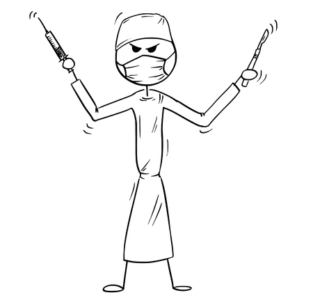 Cartoon stick man drawing conceptual illustration of crazy, mad or insane doctor surgeon holding scalpel. Stock Illustratie