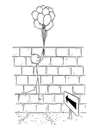Cartoon stick man dibujo ilustración conceptual del empresario sosteniendo un montón de bolas inflables o globos de aire y volando sobre la pared. Concepto de negocio de problema, obstáculo y solución.