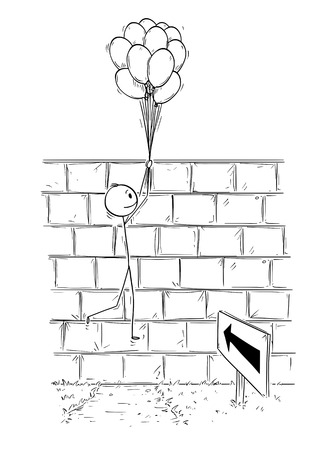Cartoon stick man drawing conceptual illustration of businessman holding bunch of inflatable balls or air balloons and flying over wall. Business concept of problem, obstacle and solution. Vettoriali