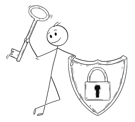 Cartoon stick man drawing conceptual illustration of businessman holding locked shield with lock or padlock image and holding key. Business concept of Internet and network security and password protection.