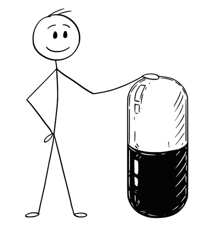 Cartoon stick man drawing conceptual illustration of businessman holding big capsule pill. Concept of medicine and healthcare.