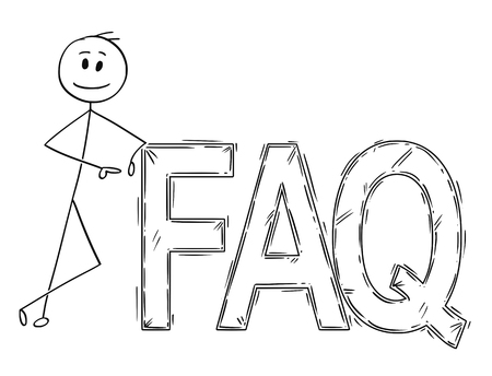 Cartoon stick man drawing conceptual illustration of businessman leaning on big faq or frequently asked questions sign.
