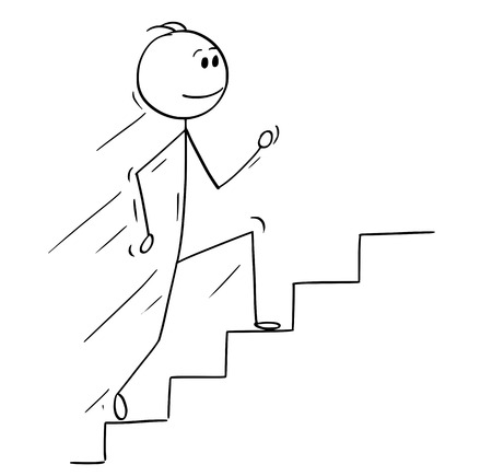Cartoon stick man drawing conceptual illustration of businessman running up stairs or staircase. Business concept of success and career.