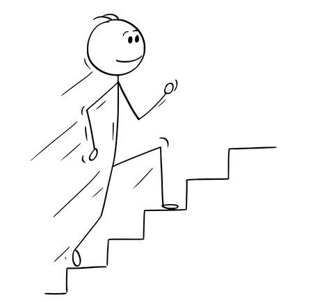 Hombre del palillo de dibujos animados dibujo ilustración conceptual del empresario corriendo escaleras arriba o escalera. Concepto de negocio de éxito y carrera.