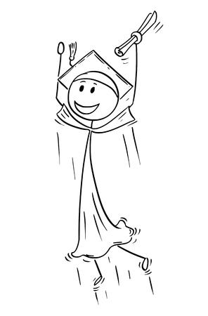 Cartoon stick man drawing conceptual illustration of graduate young man celebrating graduation. Concept of success, future and career.