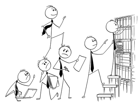 Cartoon stick man drawing conceptual illustration of businessman climbing up backs of his teammates or coworkers. Business concept of selfishness and egoism.