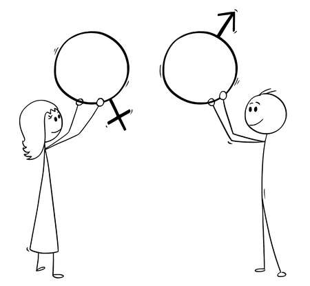 Cartoon stick man drawing conceptual illustration of man and woman holding male and female sex symbols.
