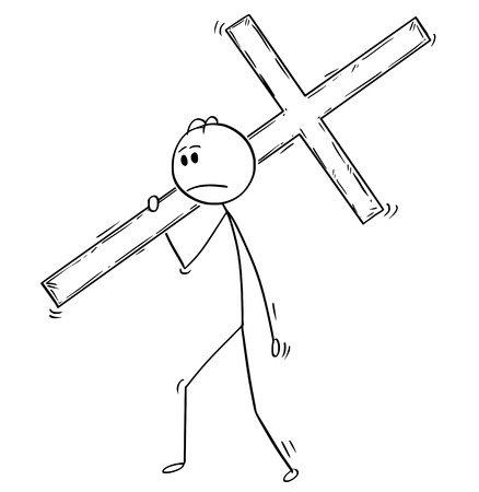 Cartoon stick man drawing conceptual illustration of businessman carrying big wooden cross as business metaphor for crucifixion. Illustration