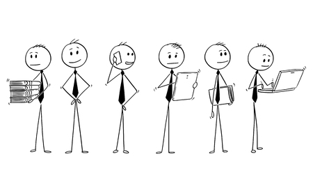Cartoon stick man drawing conceptual illustration of team or group of six businessman doing typical office work.