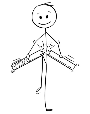 Cartoon stick man drawing conceptual illustration of man broking cigarette. Concept metaphor of stop smoking decision.  イラスト・ベクター素材