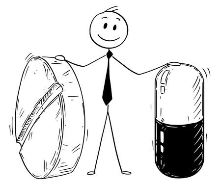 Cartoon stick man drawing conceptual illustration of businessman holding two big pills. Business concept of pharmacy and pharmaceutical industry.