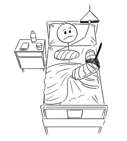 Cartoon stick man dessin illustration conceptuelle de l'homme d'affaires avec une jambe cassée et un bras allongé sur le lit à l'hôpital. Concept d'interruption de carrière ou de soins de santé.