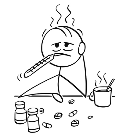Cartoon stick man drawing conceptual illustration of businessman ill with influenza, flu or cold trying to cure yourself by thermometer in mouth, hot tea and painkiller tablet or pill.