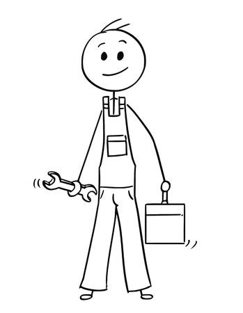Cartoon stokmens tekening conceptuele afbeelding van mannelijke werknemer of reparateur met moersleutel en gereedschapskist of toolbox. Vector Illustratie
