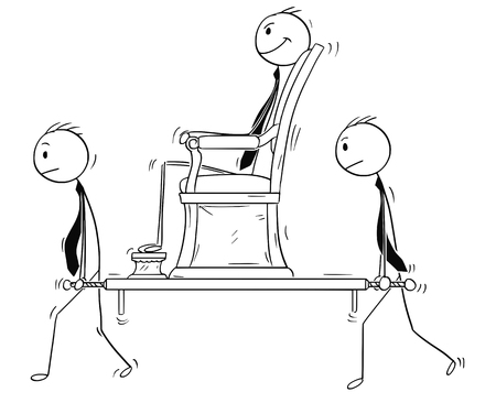 Cartoon stick man drawing conceptual illustration of businessman sitting in sedan chair carried by two subordinates. Business concept of seniority, subordination and power.