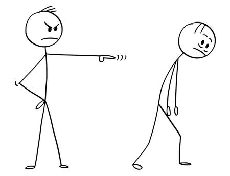Cartoon stick man drawing conceptual illustration of sad and depressed businessman fired, sacked or dismissed from work by manager or boss.