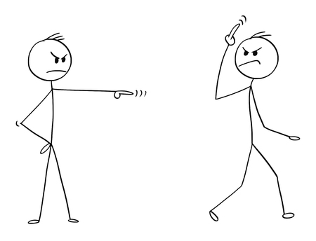 Cartoon stick man drawing conceptual illustration of arrogant businessman fired, sacked or dismissed from work by manager or boss showing bad fuck you off middle finger gesture sign. Illustration