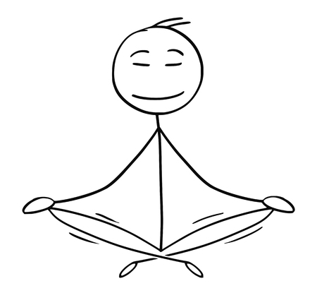 Cartoon stick man drawing conceptual illustration of businessman sitting in yoga lotus position for relaxation and meditation. Concept of healthy lifestyle. Stockfoto